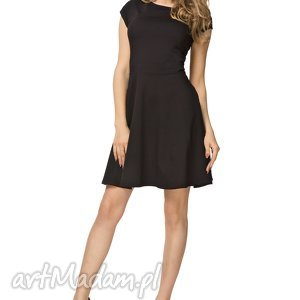 bawełniana rozkloszowana sukienka t184, czarny, sukienka, bawełniana