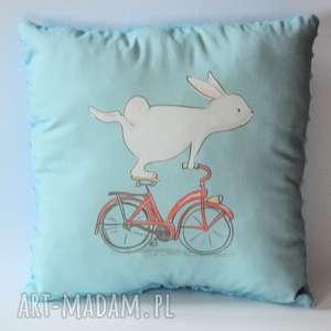 Poduszka duża - Króliczek na rowerze, królik, poduszka, rower, dziewczynka, chłopczyk