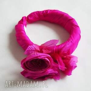 ozdoby do włosów opaska aurelia, opaska, jedwab, kwiat, róż, puffy, świąteczny
