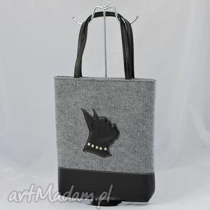 ad253d25cdb51 torebki szara torebka z filcu czarnym buldogiem - a4