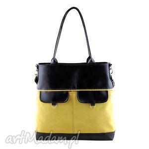 na ramię nina - duża torba musztarda i czerń, elegancka, wygodna, shopper, prezent
