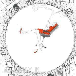 przerwa w korpo praca akwarelami i piórkiem artystki adriany laube, kobieta