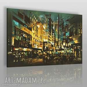 obraz na płótnie - miasto budynki 120x80 cm 21601, miasto, ulica, światła