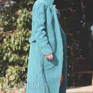 hand-made płaszcze turkus sztruksowy