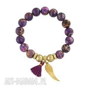 caesar - violet jasper 75 00 - złote bransoletki, skrzydełko