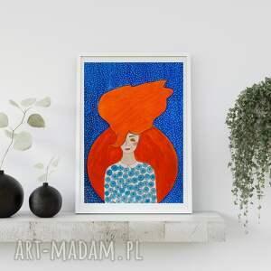 plakaty plakat 70x100 cm - kobieta z rudymi włosami