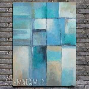 Obraz na płótnie - ABSTRAKCJA 40/50 cm, abstrakcja, obraz, szary, niebieski