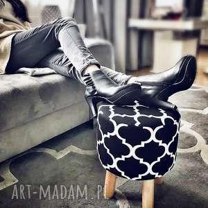 pufa koniczyna maroco czarno - biała 36 cm, puf, taboret, hocker, vintage