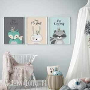 Zwierzątka leśne, tryptyk A3, plakaty, dziecko, ozdoba, skandynawski, druk