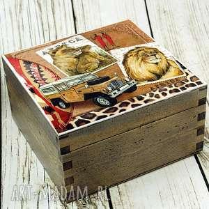 Szkatułka- SAFARI, safari, afryka, lwy, pudełko, szkatułka