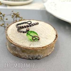 green leaf - pierścionek spiralny z miedzi, mini, minimalizm