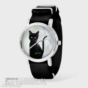 hand made zegarki zegarek, bransoletka - czarny kot, szary - czarny, nato