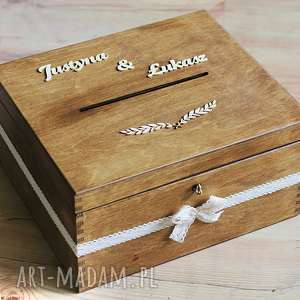 Pudełko z kluczykiem - gałązka i koronka ślub biala konwalia