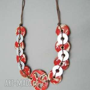 naszyjnik soczysta czerwień w metalicznej oprawie, naszyjnik, metal, ceramika