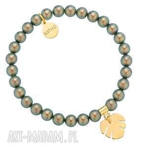 Bransoletka z pereł SWAROVSKI® CRYSTAL ze złotą monsterą, bransoletka, perłowa, perły