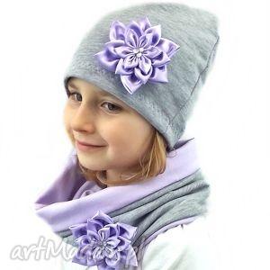 ręcznie wykonane kominy fioletowy komplet - czapka z szalikiem