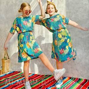 Sukienka turkusowa w kwiaty sukienki hanka sukienka, midi