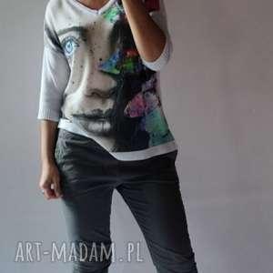 letni sweter oversize, letni, damski, elegancki, drukowany, kobiecy, cienki