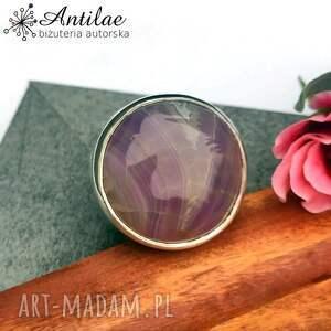 pierścionek z pasiastym agatem - regulowany, fioletowy agat, iliowy