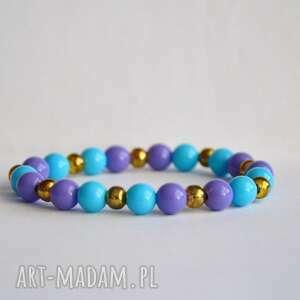 niebiesko fioletowe korale, błękit, fiolet, złoto, nowość, prezent, niebieski