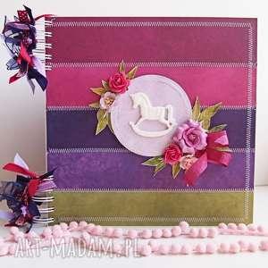 kolorowy album z konikiem/25x25cm, album, dziecko, scrapbooking, prezent, chrzest
