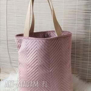 ręcznie zrobione na ramię torba shopperka welur pudrowy róż