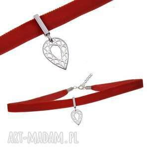 poplavsky choker czerwony srebro 925, naszyjnik, choker, srebro, aksamitka, aksamit
