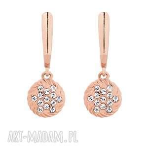kolczyki z zawieszkami swarovski crystal różowego złota, kolczyki, wiszące