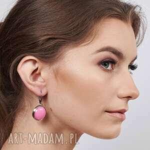 srebrne kolczyki z różowym kamieniem alda a751, różowe kolczyki, pastelowe