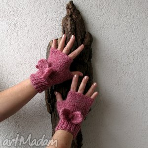 Pink Pastel, rękawiczki, mitenki, kokarda