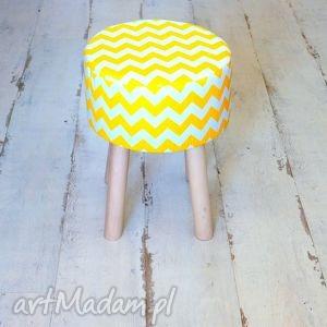stołek fjerne m żółte zygzaki - puf, taboret, stołek, drewno
