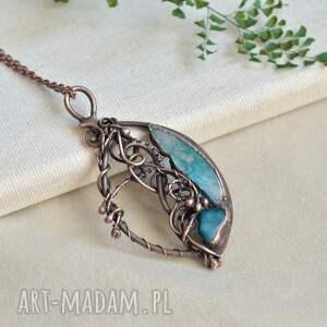 blue ocean - naszyjnik z agatami, agatem, wisior morski, biżuteria