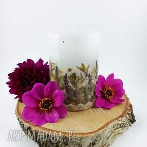 świeca romantyczna z suszonymi trawami kwiatami dekoracja do domu ozdoba