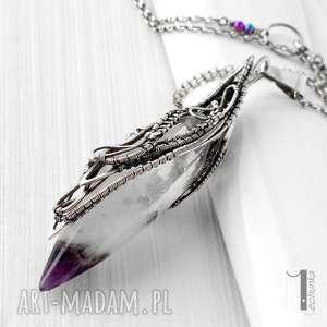 amethyst peak srebrny naszyjnik z kwarcem i ametystem - kwarc, ametyst, wirewrapping