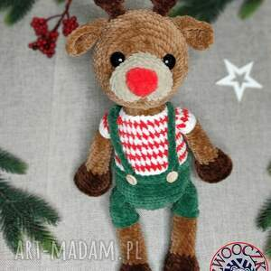 świąteczny renifer szydełkowa maskotka - szydełkowy, święta