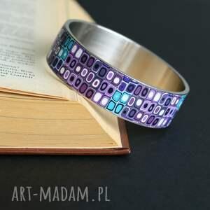mozaika w fiolecie, bransoleta z polymer clay i stali, bransoletki, fioletowy