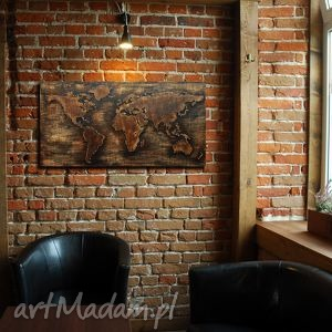 ręcznie zrobione dekoracje 122 x 63 cm - drewniana mapa świata