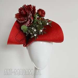 unikalny woalka, zimowa róża, fascynator, czerwony