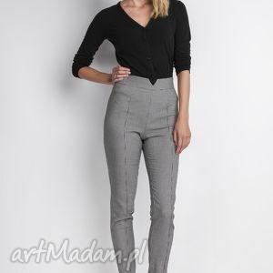 Spodnie z wysokim stanem, SD112 pepito, wysokie, pepitko, długie, zamek, eleganckie
