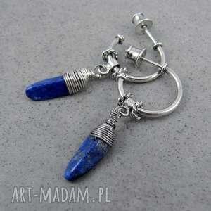 Lapis lazuli hoops, koła, wiszące, kropla, okręgi, hoop, lapis-lazuli