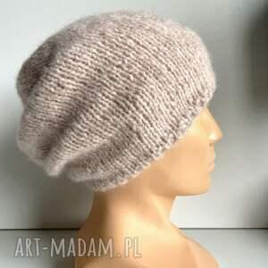 ręcznie robiona czapka hand made alpaka air 33 różowy piasek, czapka