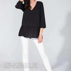 bluzka koszulowa z falbanką t135 czarny - bluzka, koszula, szyfon, falbanka