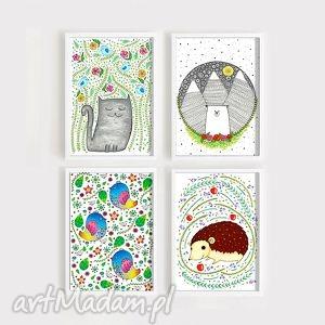 zestaw 4 prac a3 - plakat, dziecko, zwierzęta, ilustracja