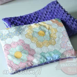 komplet do wózka kołderka poduszka kalejdoskop na fioletowym, komplet, poduszk