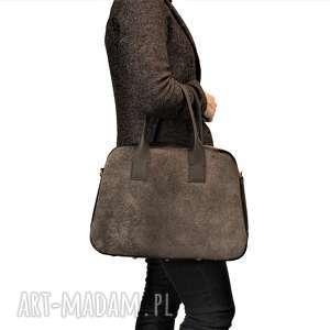 Prezent KLASYCZNA TORBA DAMSKA Z SZARYM WŁOSEM, torba, torebka, kuferek, bowling