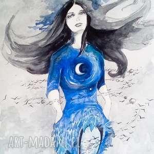 księżycowa dziewczyna 2 akwarela artystki plastyka adriany laube