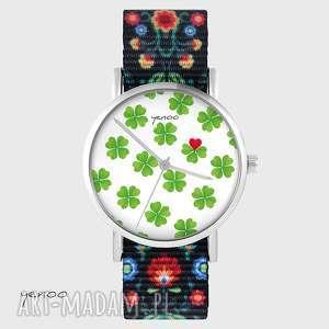 zegarek - lucky heart folk czarny, nato, zegarek, bransoletka, serce
