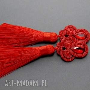 czerwone klipsy sutasz, sznurek, wiszące, długie, chwosty, wieczorowe, eleganckie