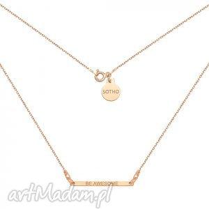 ręcznie robione naszyjniki naszyjnik z różowego złota z delikatną blaszką be awesome