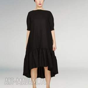 mała czarna wełniana sukienka z falbaną - czarna, mała, wełniana